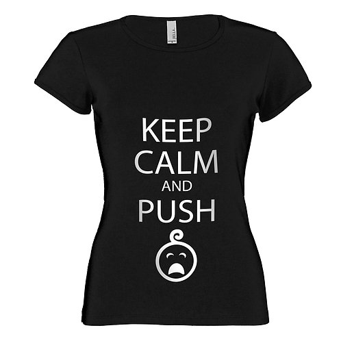 "T-shirt noir ""KEEP CALM AND PUSH"""