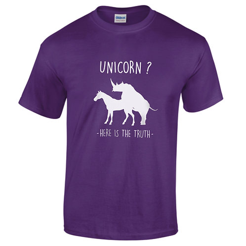 "T-shirt violet ""UNICORN THE TRUTH"""
