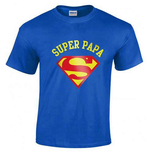 "T-shirt bleu ""SUPER PAPA"""