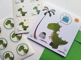 Inviti, stickers e accessori feste dinosauri