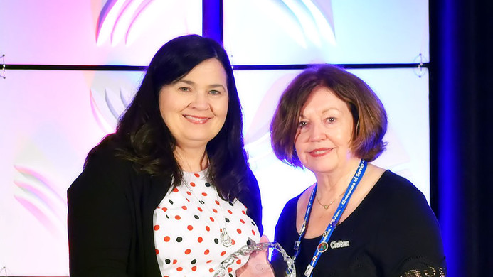 Mary Karras Accepts Award