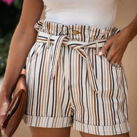 Filtered Soul Striped Pocket Paper Bag Waist Shorts