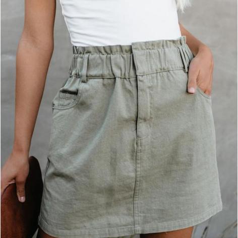 Pess Pockets Paper Bag Waist Denim Skirt