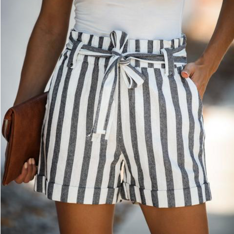 On Holiday Striped Cotton Pocketed Tie Shorts