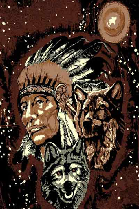 Indian with Wolves