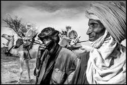 Tuareg travelling by camel.
