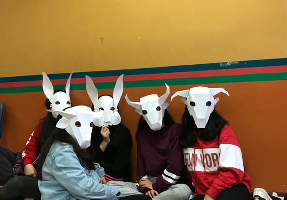 Himalayan Heritage Students in Queens wearing masks inspired by our Lhamo Trung Trung story and made by them.