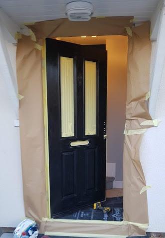 blaxk masking door