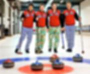 curling landslag klovnebukse spille curling utdrikningslag event julebord