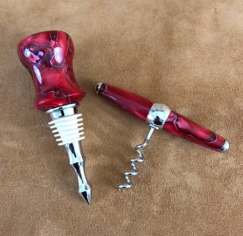 Matching Bottle Stopper and Corkscrew