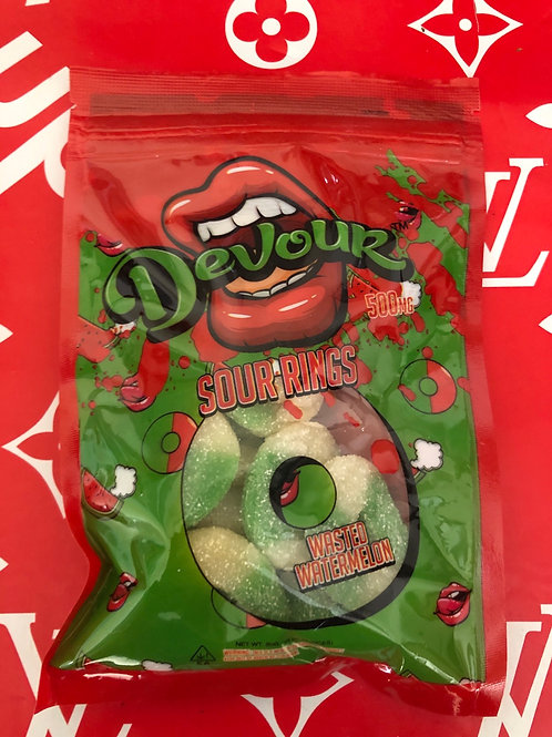 Devour Wasted Watermelon Sour Rings  500mg