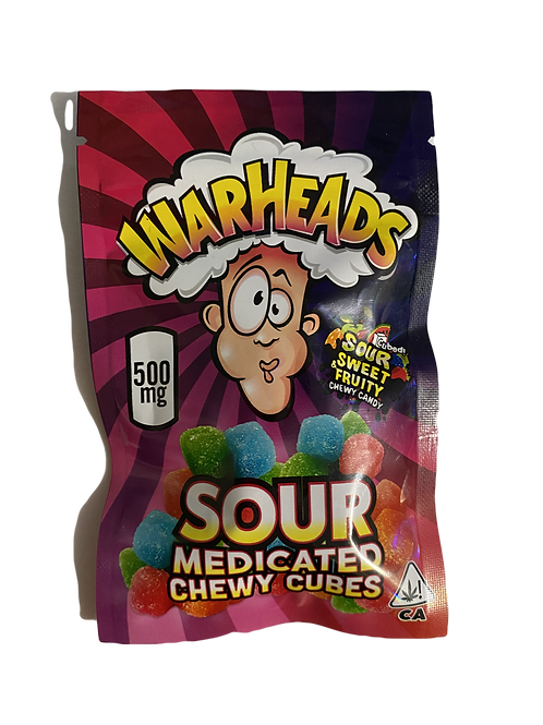 WarHeads Sour Medicated Chewy Cubes 500mg