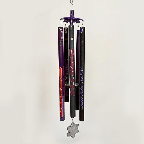 5-Pipe Ski Pole Wind Chime – Black Purple