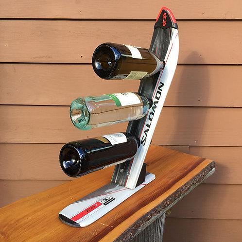 3-Bottle Ski Wine Rack – Salomon Gray Red