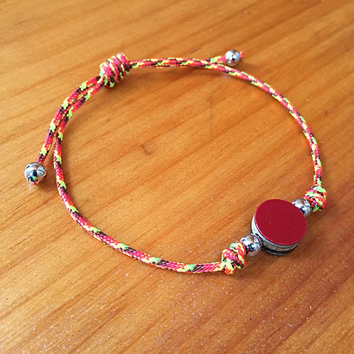 Ski Bead Slide Knot Bracelet –  Red on Orange