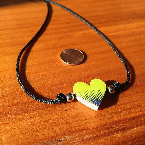 Ski Bead – Yellow/Green, Blue Heart