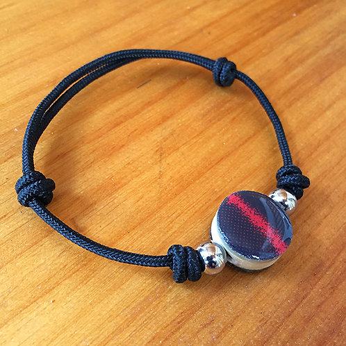 Ski Bead Slide Knot Bracelet – Black Red on Black