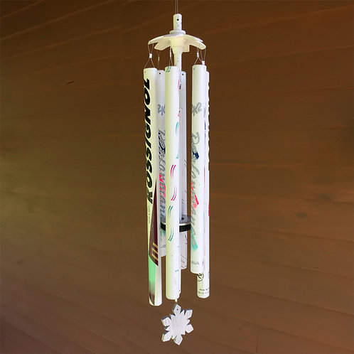6-Pipe Ski Pole Wind Chime – White