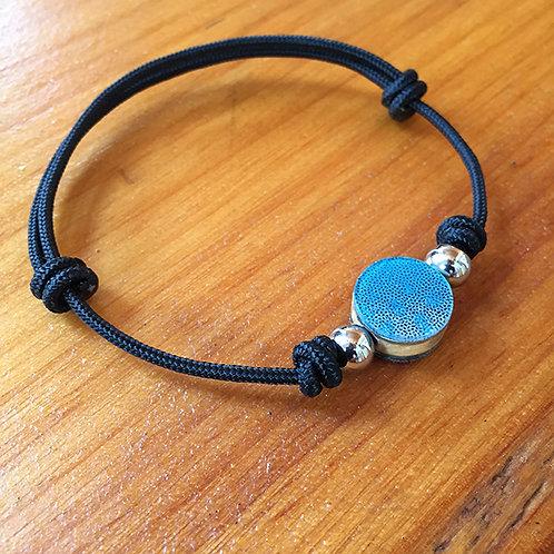 Ski Bead Slide Knot Bracelet – Teal on Black