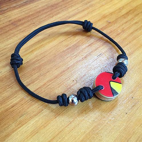 Ski Bead Slide Knot Bracelet – Red, Yellow, and Black on Black
