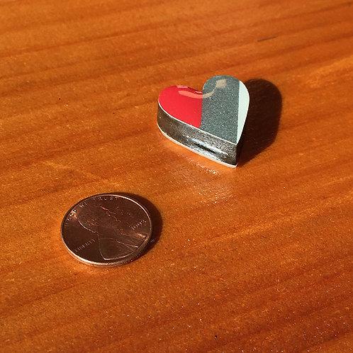 Ski Bead – Red Silver White Stripe Heart