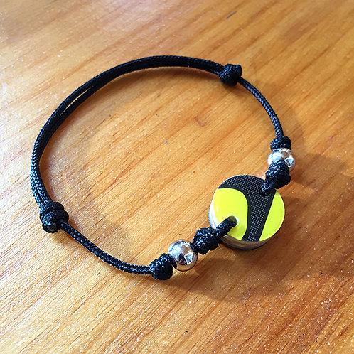 Ski Bead Slide Knot Bracelet – Yellow and Black on Black