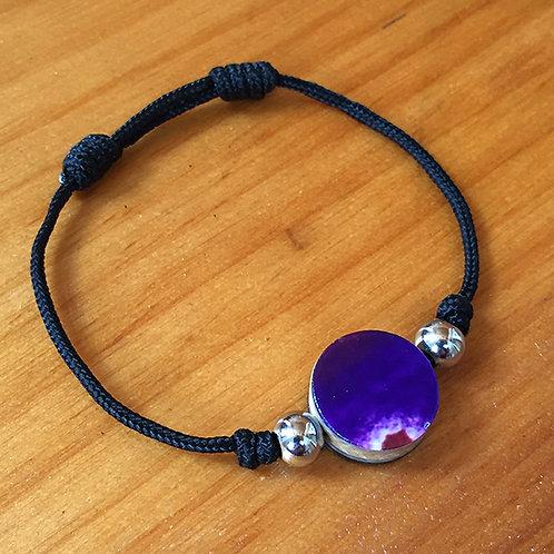 Ski Bead Slide Knot Bracelet – Purple on Black