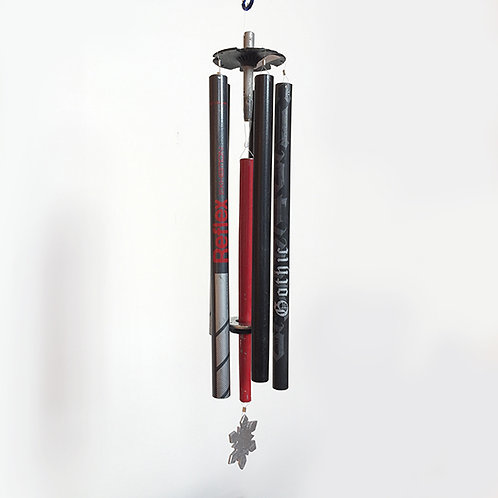 5-Pipe Ski Pole Wind Chime – Red Black Silver