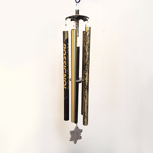 5-Pipe Ski Pole Wind Chime – Black and Gold