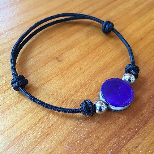 Ski Bead Slide Knot Bracelet – Purple and Black on Black
