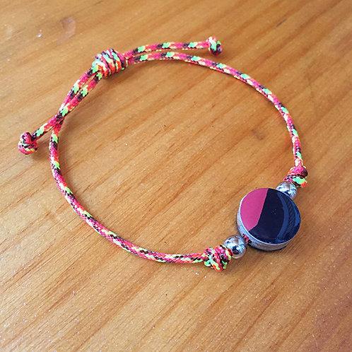 Ski Bead Slide Knot Bracelet –  Red Black on Orange
