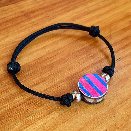 Ski Bead Slide Knot Bracelet – Pink Striped on Black