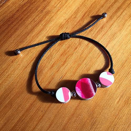 Ski Bead Slide Knot Bracelet – 3 Pink on Blk