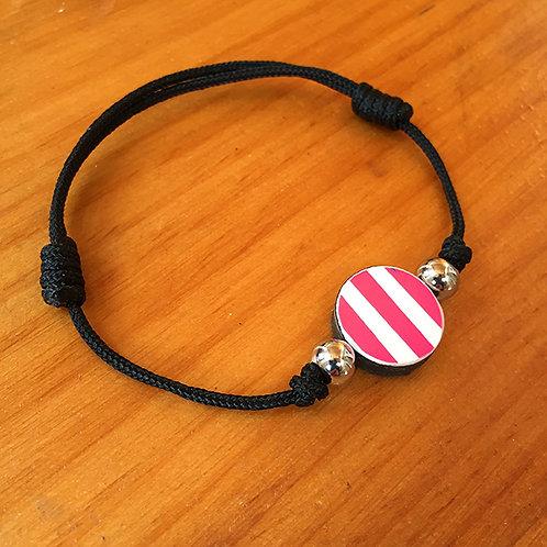 Ski Bead Slide Knot Bracelet – Pink on Black