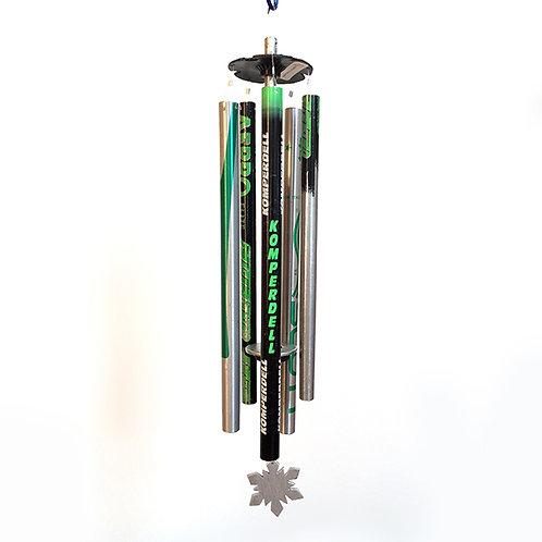 5-Pipe Ski Pole Wind Chime – Green Black Silver