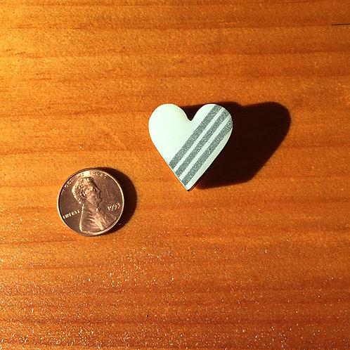 Ski Bead – White Silver Stripe Heart