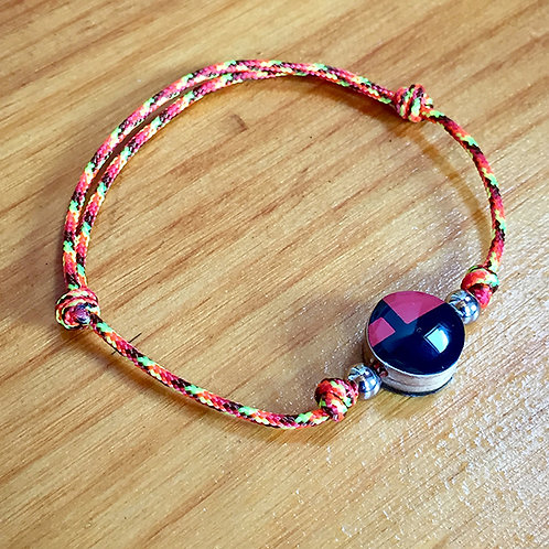 Ski Bead Slide Knot Bracelet – Red and Black on Orange