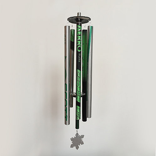 5 Pipe Ski Pole Wind Chime – Green Black Silver