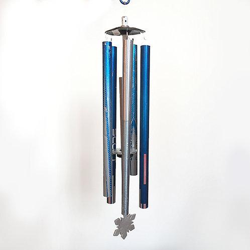 5-Pipe Ski Pole Wind Chime – Blue Silver Pink