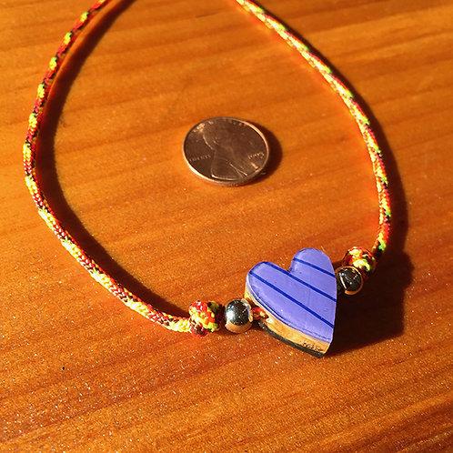 Ski Bead –  Small Purple Striped Heart