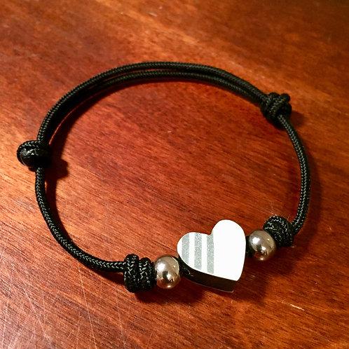 Heart Ski Bead Bracelet – Small White Silver Stripe