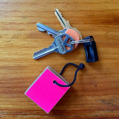 Ski Key Fob – Pink Square