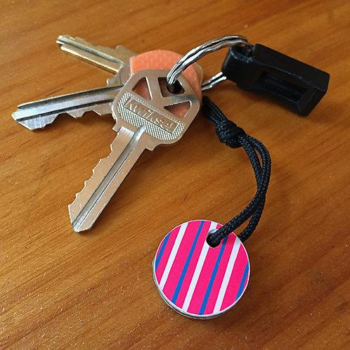 Ski Key Fob – Pink Circle