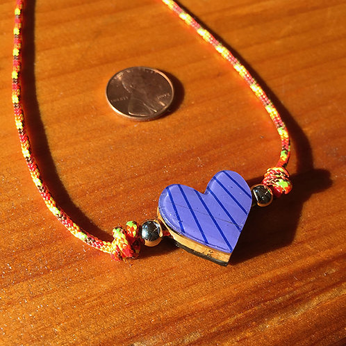 Ski Bead –  Purple Striped Heart