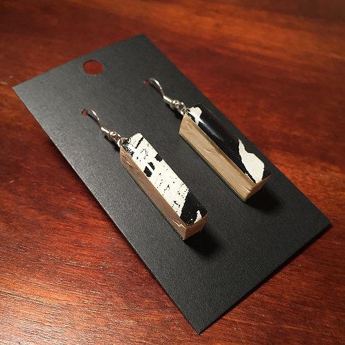 Downhill Ski Earrings – Ebony and Ivory