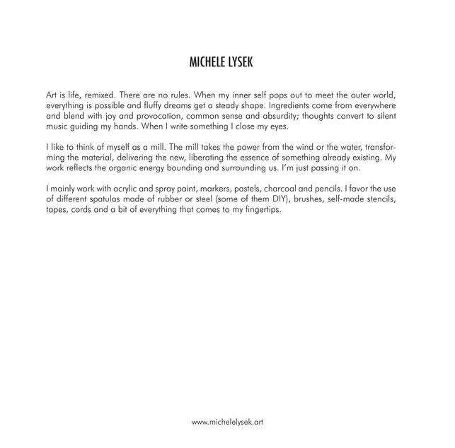 MICHELE LYSEK catalog 2019 artist statement