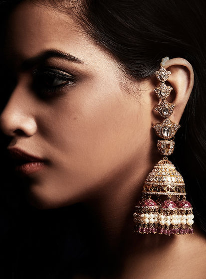 Polki and Gold Earrings - Top Jewellers