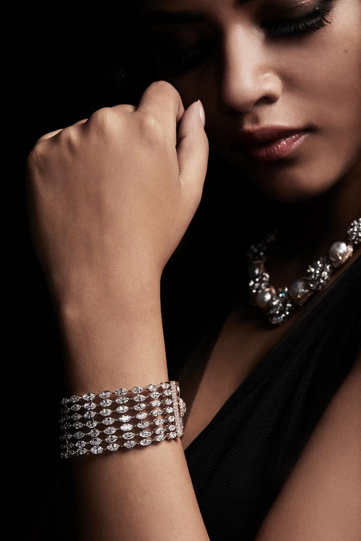 Chic, elegant marquise-shaped diamond bracelet.