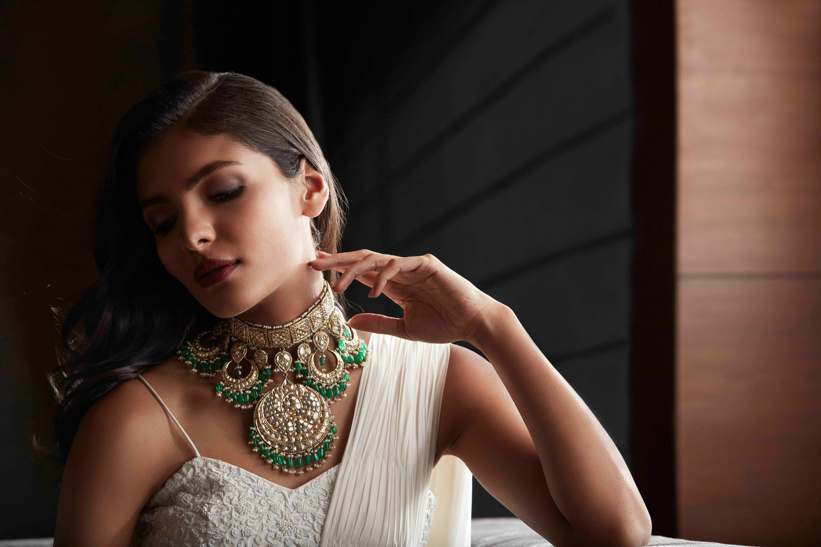 Dramatic traditional polki necklace.