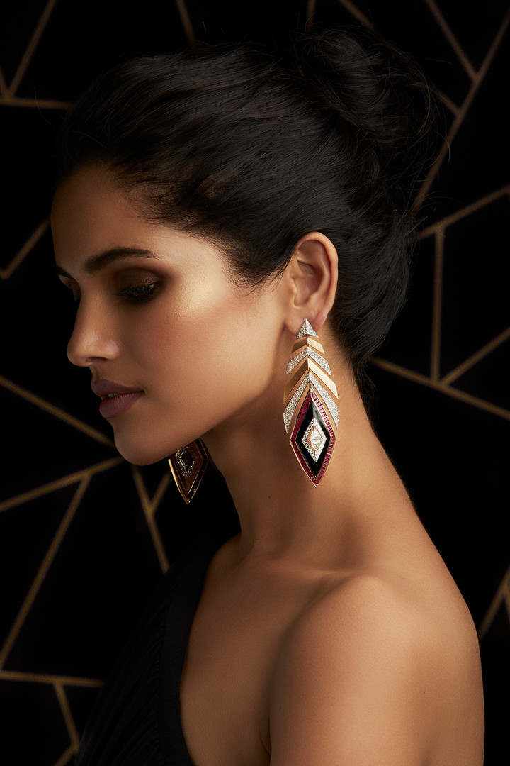 IMPECCABLY DETAILED DIAMOND EARRINGS, FEATURING MOZAMBIQUE RUBIES & BLACK ENAMELLING IN TWO-TONE GOLD & BRUSHED GOLD FINISH.